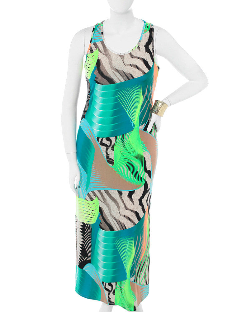 Plus Size Island Beauty Maxi Aqua Dress