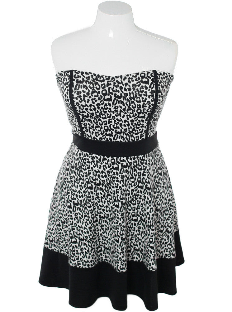 Plus Size Cheetah Sweetheart Tube Dress