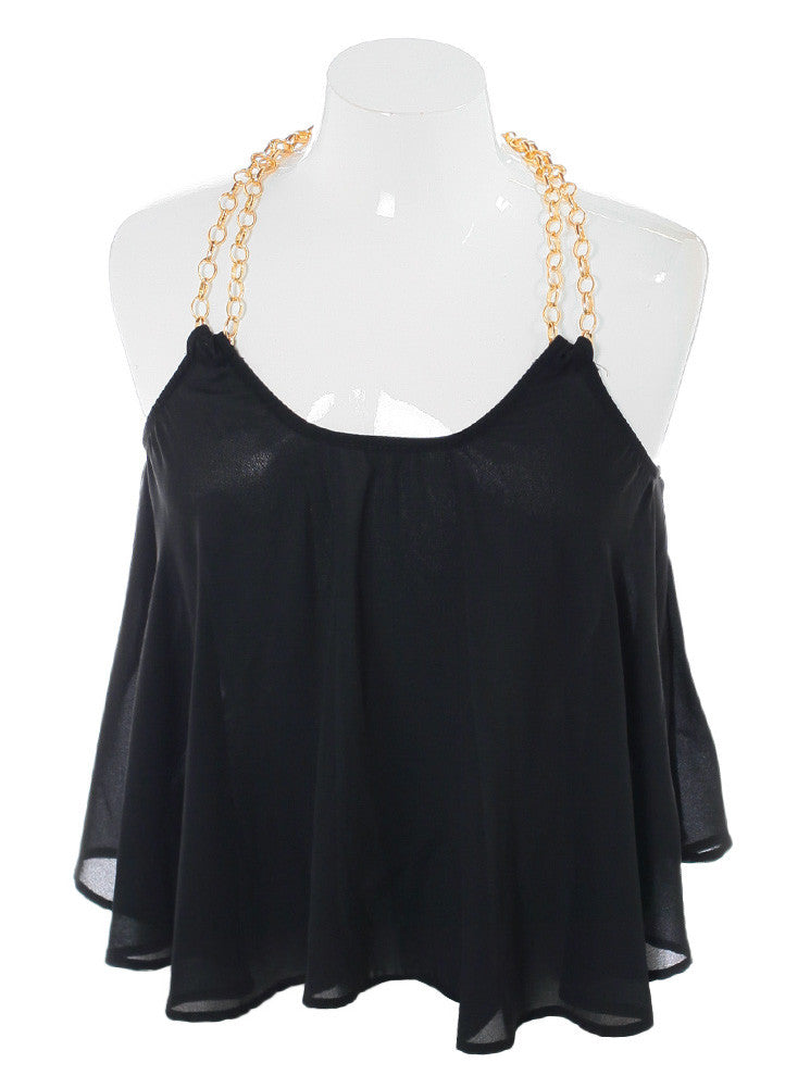 Plus Size Morning Crush Gold Chain Black Top