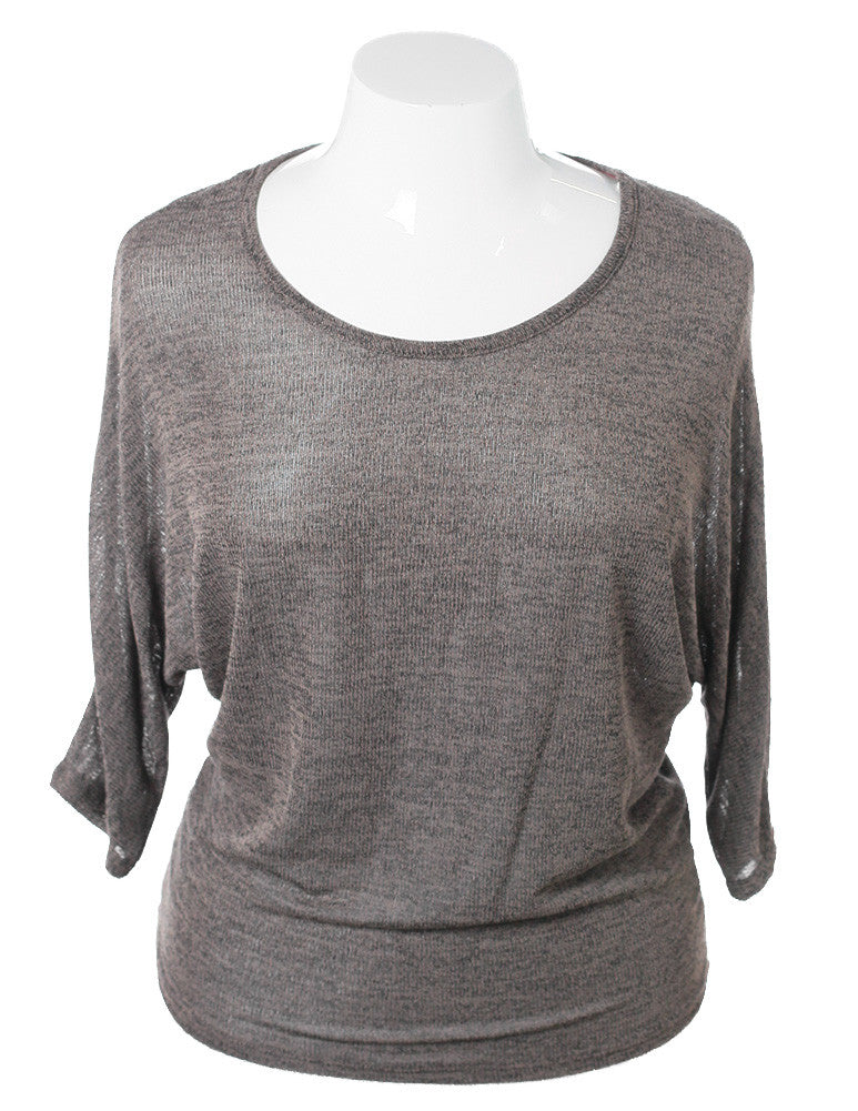 Plus Size Charming Cut Out Back Grey Top