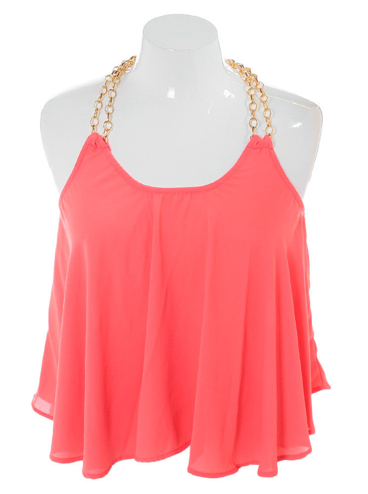 Plus Size Morning Crush Gold Chain Coral Top