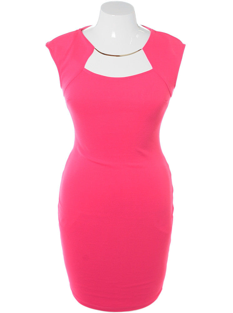 Plus Size Glam Necklace Pink Midi Dress