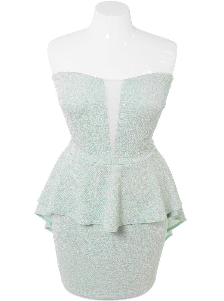 Plus Size Shimmering Peplum Mint Dress
