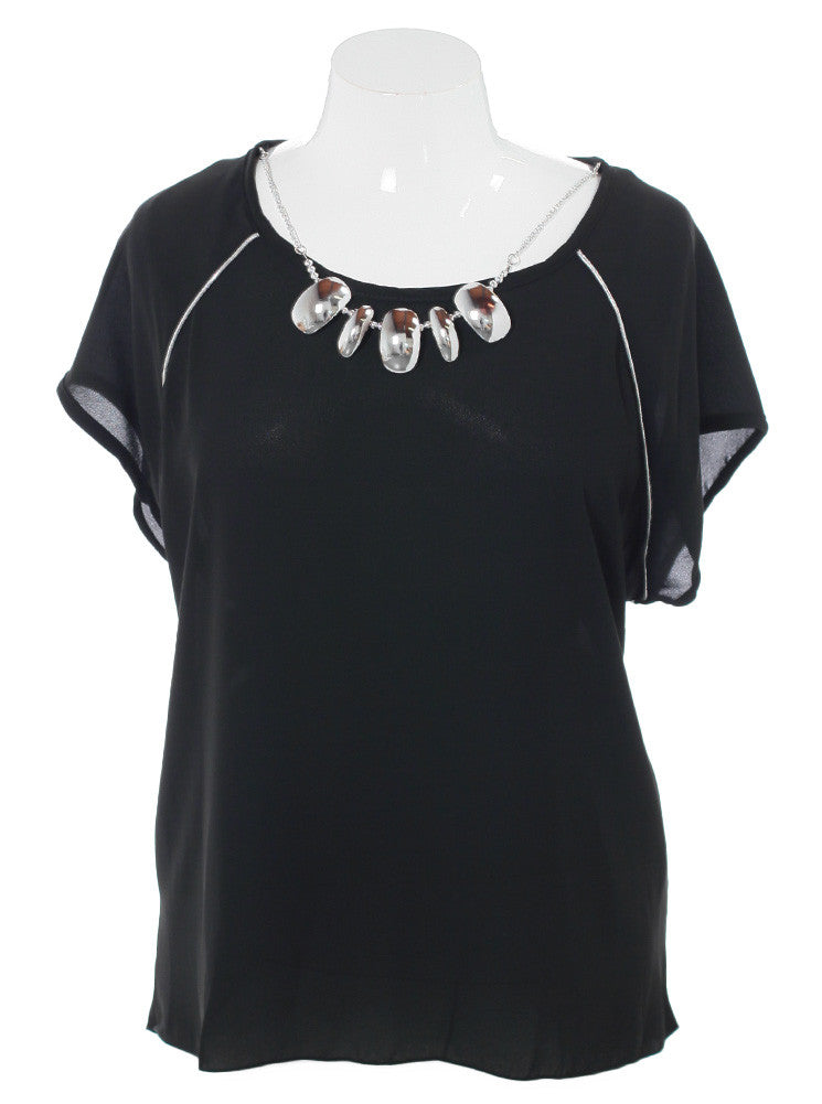 Plus Size Sheer Silver Glam Black Blouse