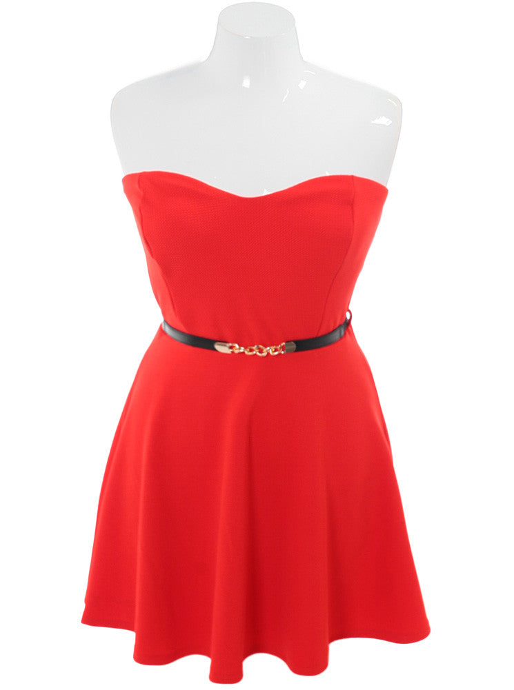 Plus Size Dashing Belted Coral Mini Dress
