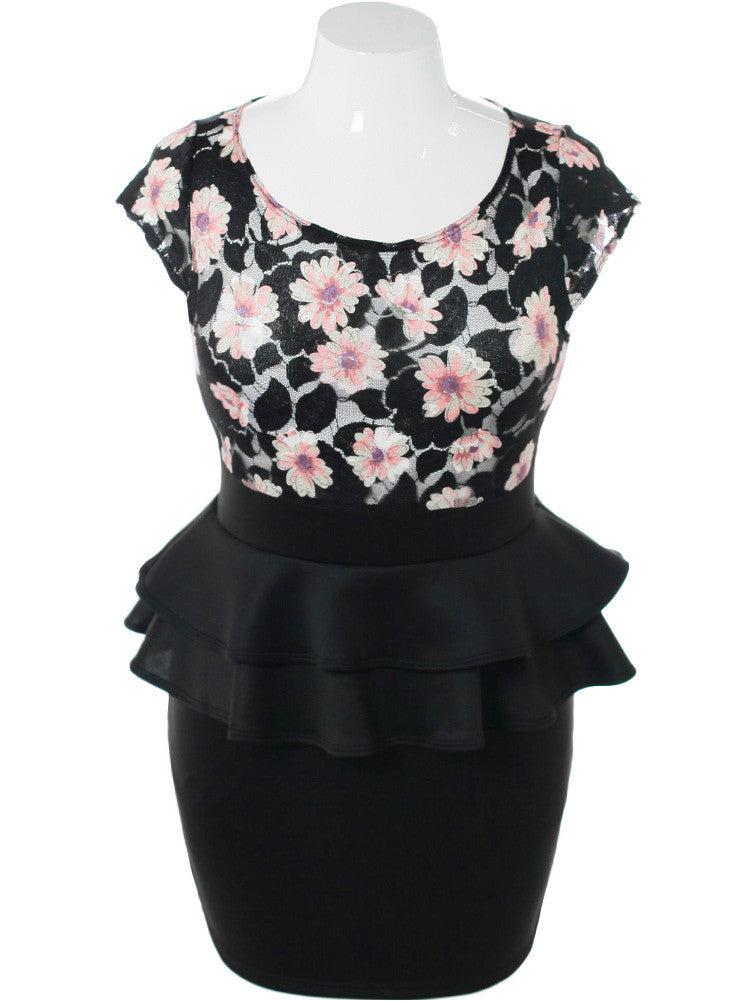 Plus Size Flower Art Mesh Peplum Black Dress