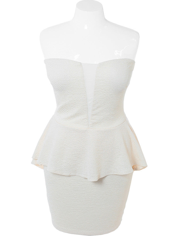 Plus Size Shimmering Peplum Cream Dress