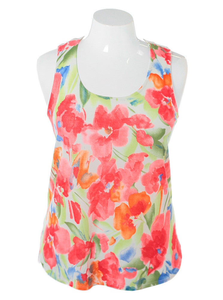 Plus Size Sexy Racer Back Floral White Top