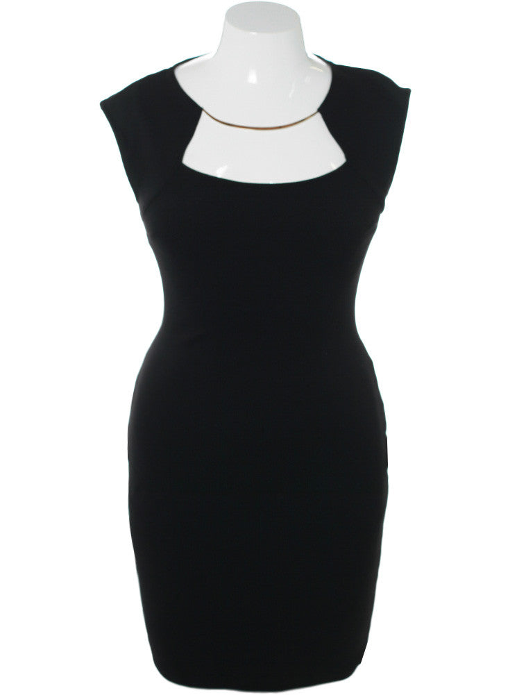 Plus Size Glam Necklace Black Midi Dress