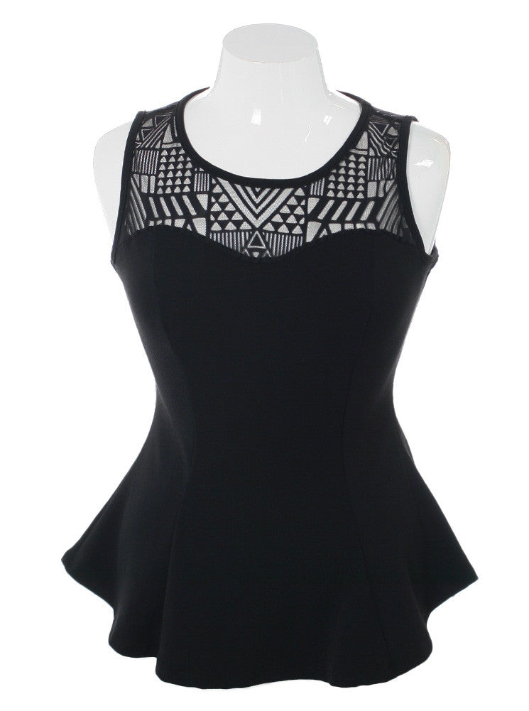 Plus Size Geometric Mesh Black Tunic