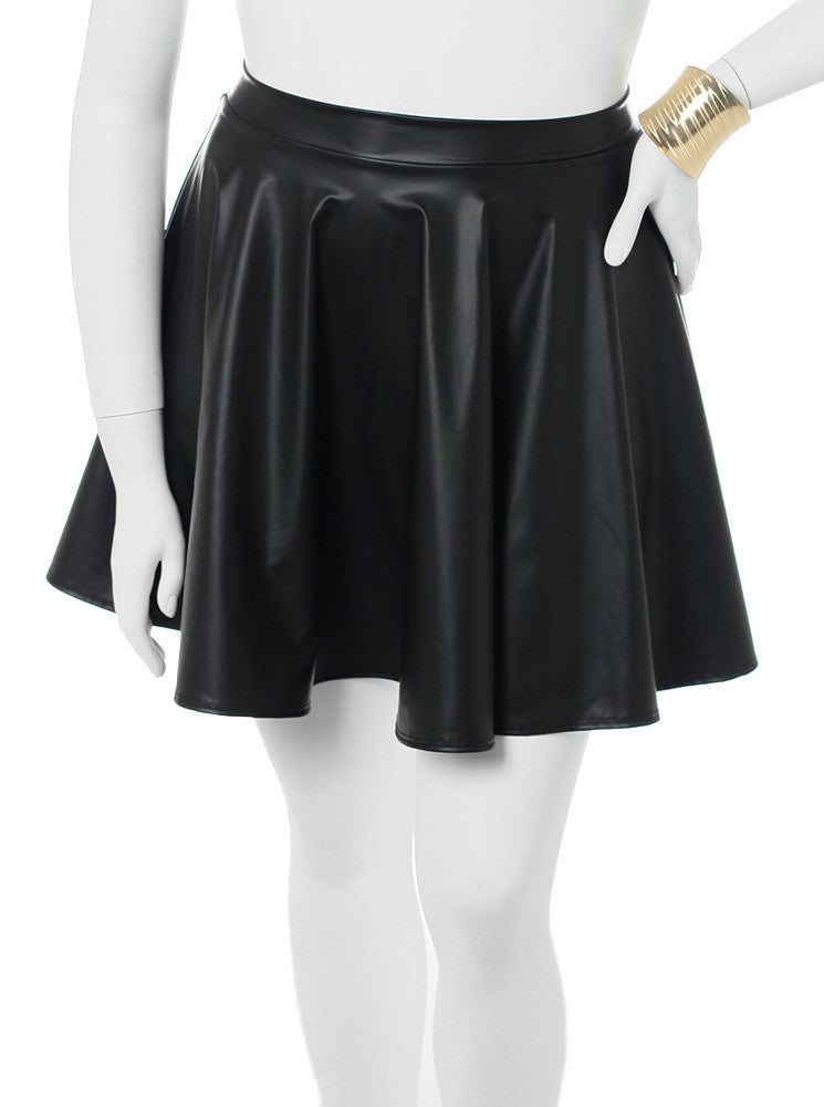 Plus Size Sexy Leather Black Skirt