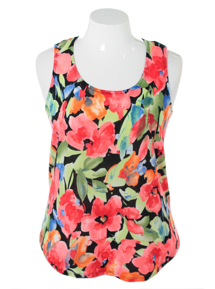 Plus Size Sexy Racer Back Floral Black Top