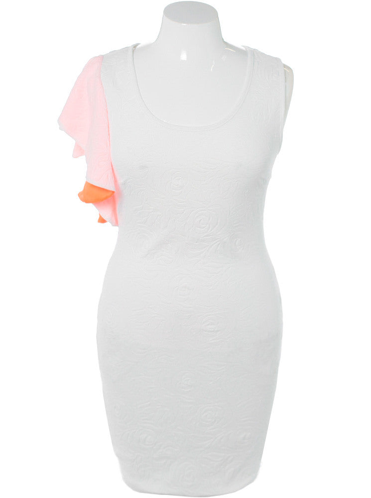 Plus Size Glamour Shoulder Textured White Dress