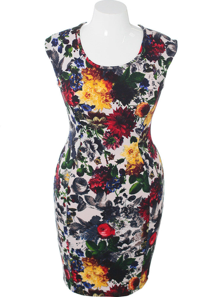 Plus Size Designer Spring Floral Dress