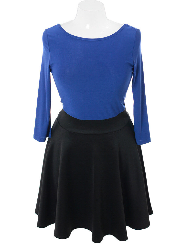 Plus Size Sexy Blue Flared Black Skirt Dress