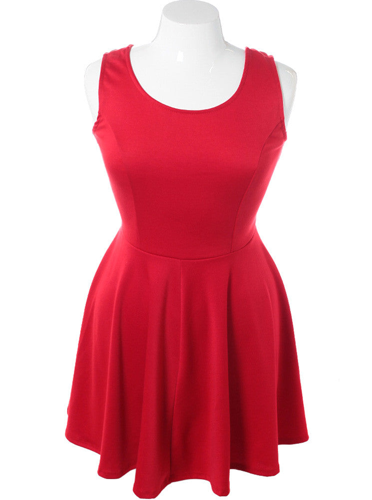 Plus Size Open Back Bows Red Dress