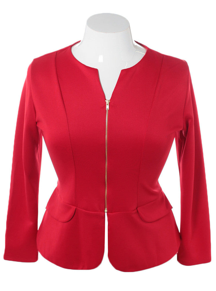 Plus Collarless Size Zip Up Red Blazer