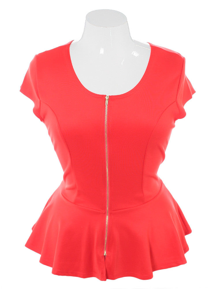 Plus Size Sexy Zipper Peplum Coral Top