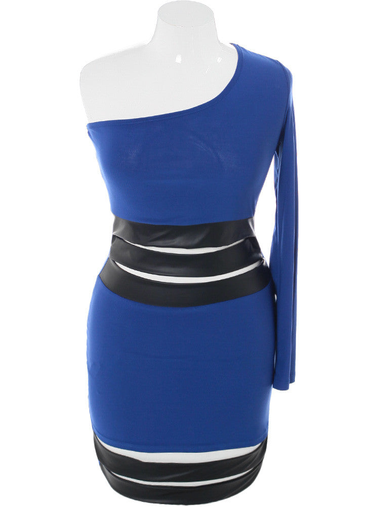 Plus Size Striking One Sleeve Leather Blue Dress