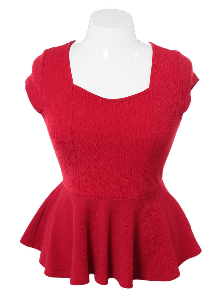 Plus Size Sexy Open Back Peplum Red Top