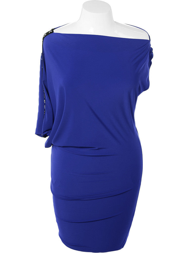 Plus Size Asymmetrical One Sleeve Blue Dress