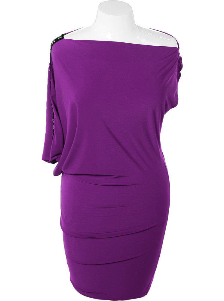 Plus Size Asymmetrical One Sleeve Purple Dress