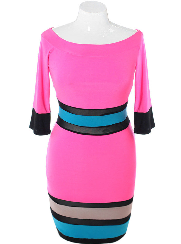Plus Size Silky Scuba Mesh Pink Dress
