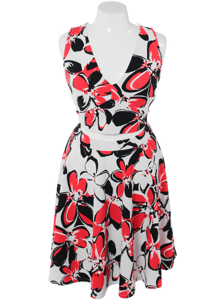 Plus Size Floral Daze Midriff Cut Out Red Dress