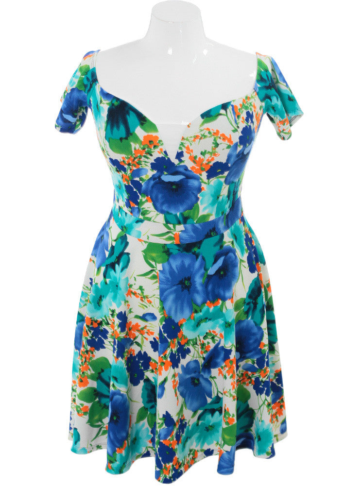 Plus Size Dancing Flowers Blue Dress