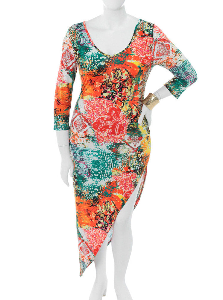 Plus Size Art Show Asymmetrical Orange Dress