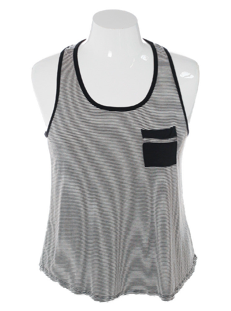 Plus Size Delightful Striped Black Tank