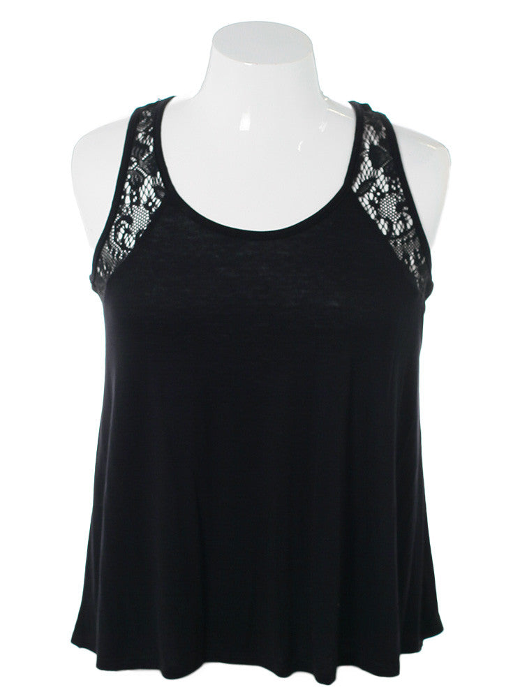 Plus SIze Knitted Lace Yoke Black Top