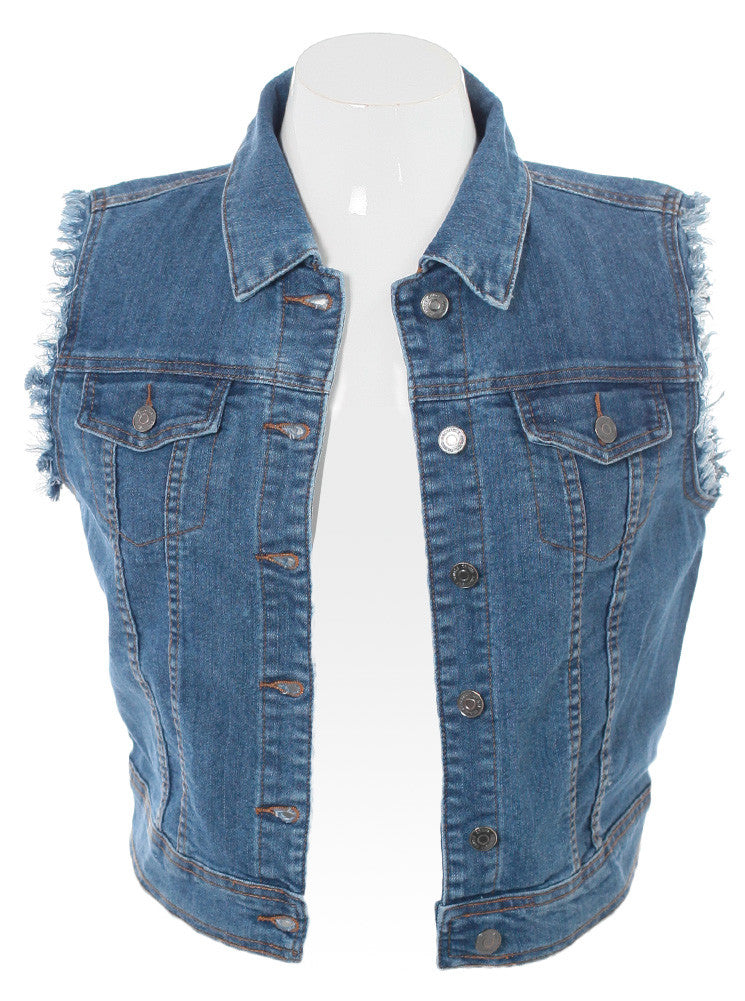 Plus Size Be Cool Denim Blue Vest