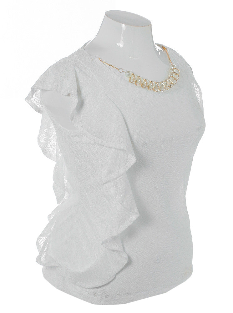 Plus Size Pretty Ruffles White Top