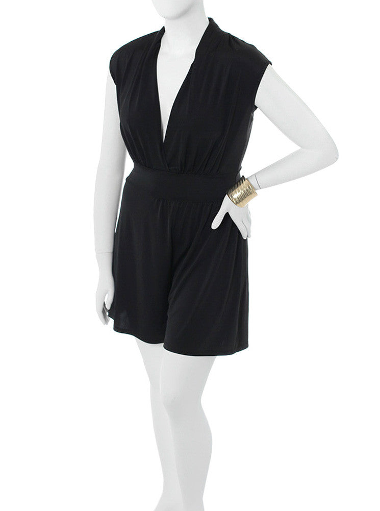 Plus Size Let's Play Silky Black Romper