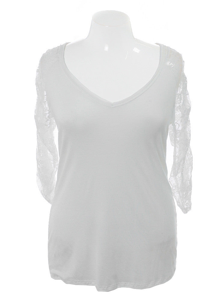 Plus Size Crochet Lace White Blouse