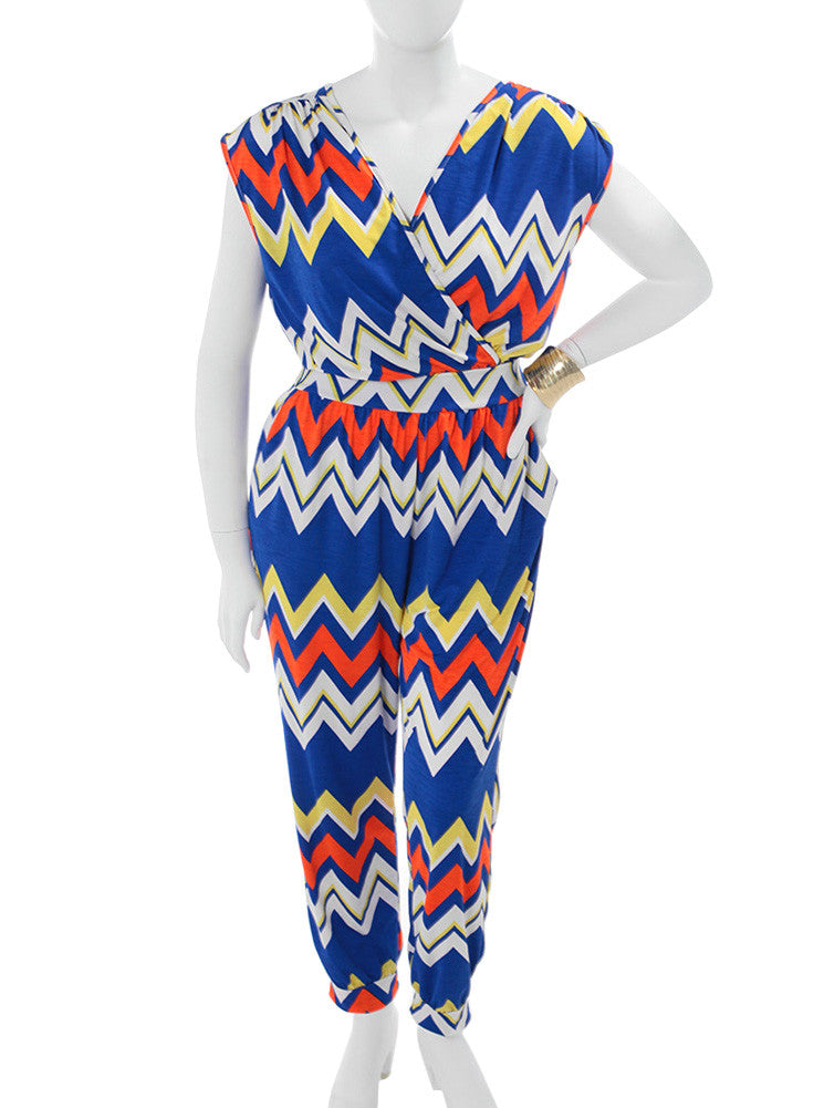 Plus Size Zig Zag Hued Blue Jumpsuit