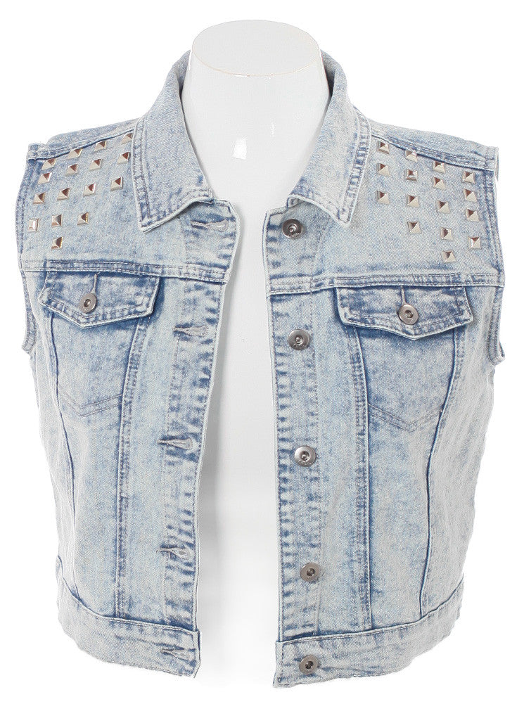 Plus Size Acid Wash Studded Light Denim Vest