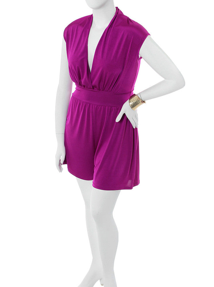 Plus Size Let's Play Silky Purple Romper