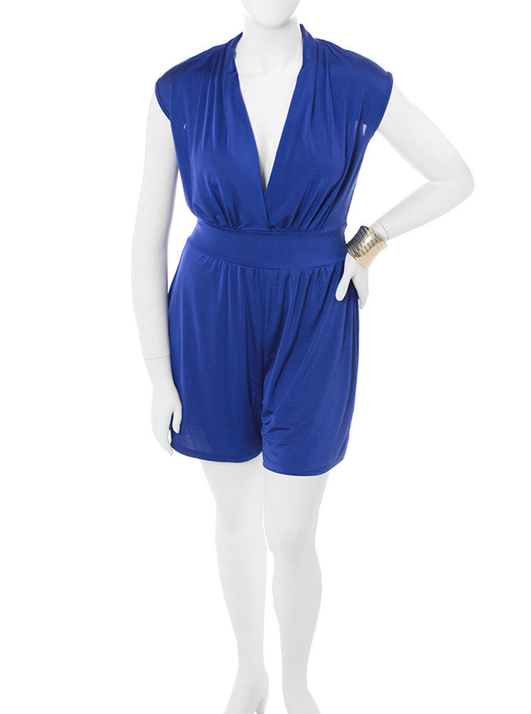 Plus Size Let's Play Silky Blue Romper