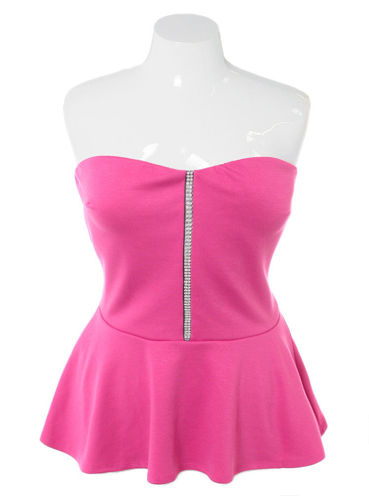 Plus Size Diamond Studs Peplum Pink Top