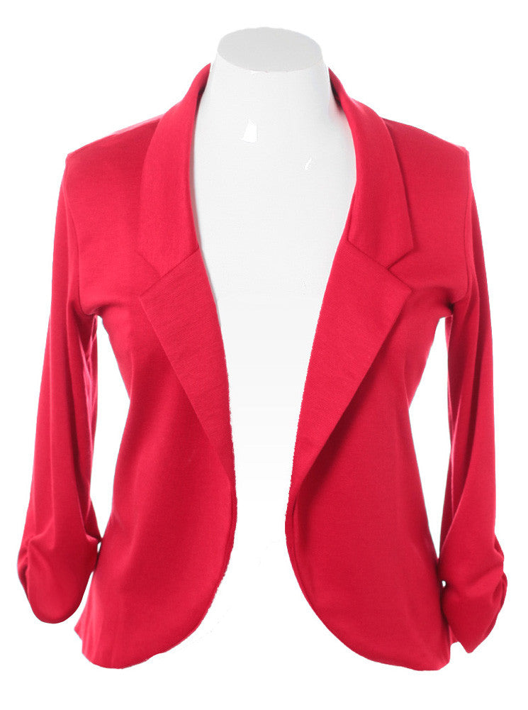 Plus Size Chic Open Front Red Blazer