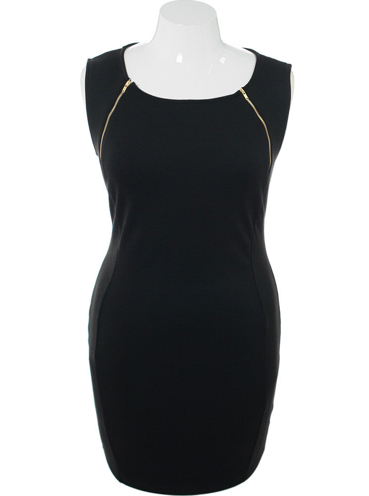 Plus Size Zipper Yokes Black Dress