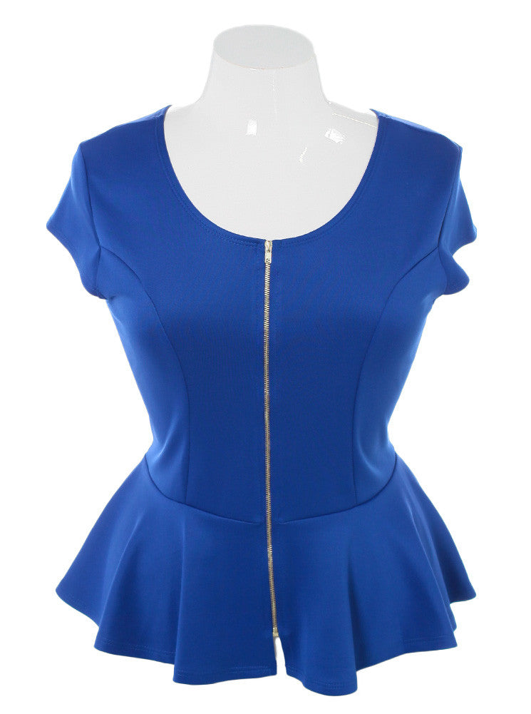 Plus Size Sexy Zipper Peplum Blue Top