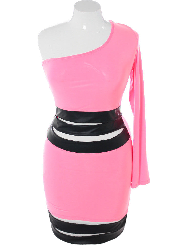 Plus Size Striking One Sleeve Leather Pink Dress