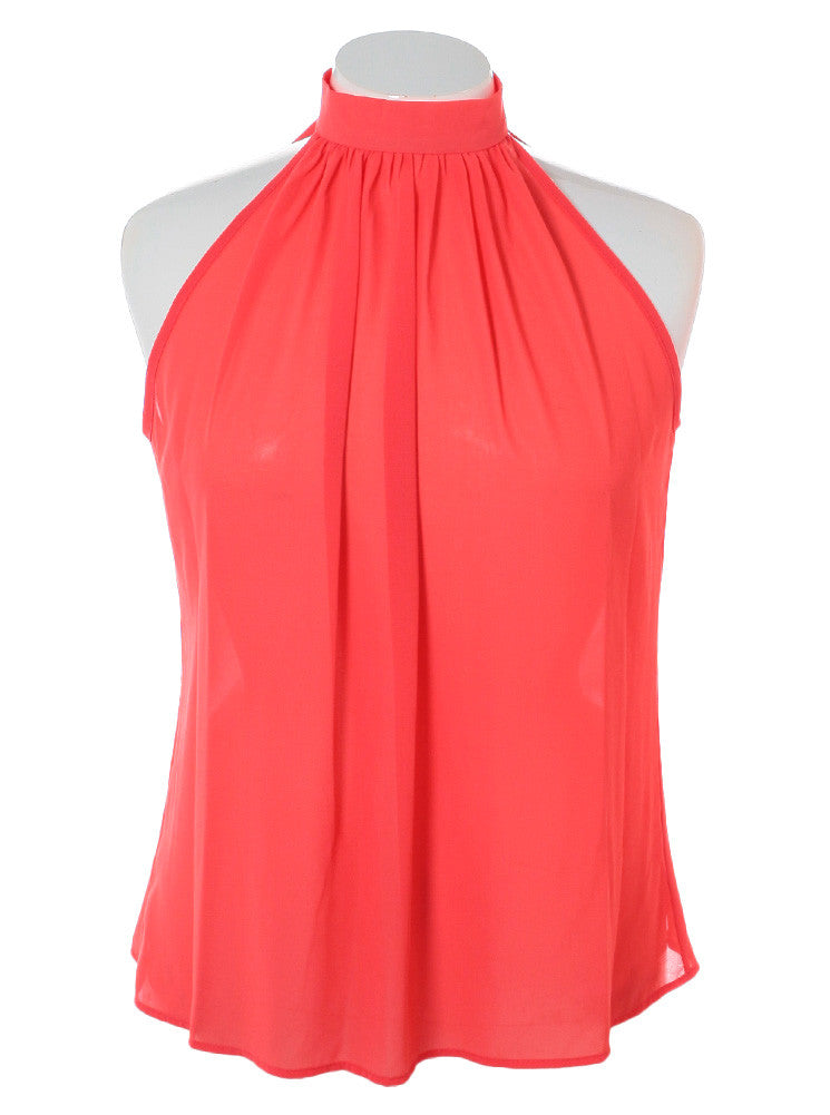 Plus Size Butterfly Back Sheer Coral Top