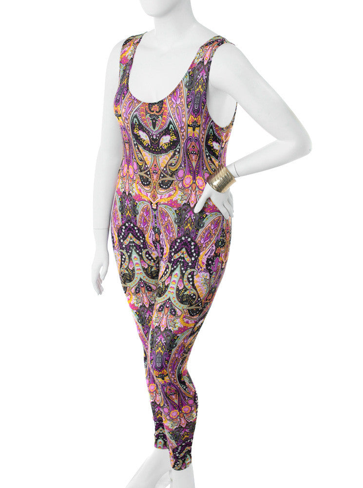 Plus Size See Through Victorian Print Jumpsuit