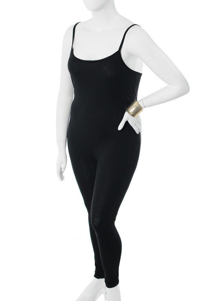 Plus Size Basic Spaghetti Strap Black Jumpsuit