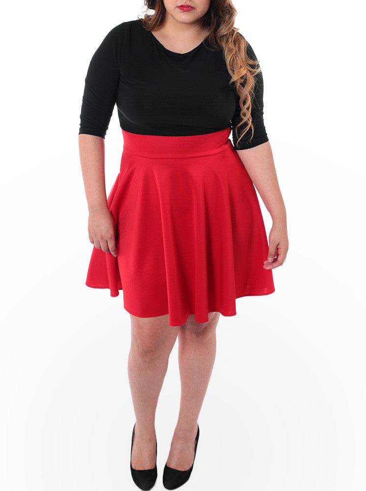 Plus Size Sexy Flared Red Skirt Dress
