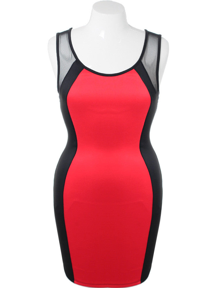 Plus Size Hot Bodycon Mesh Red Dress